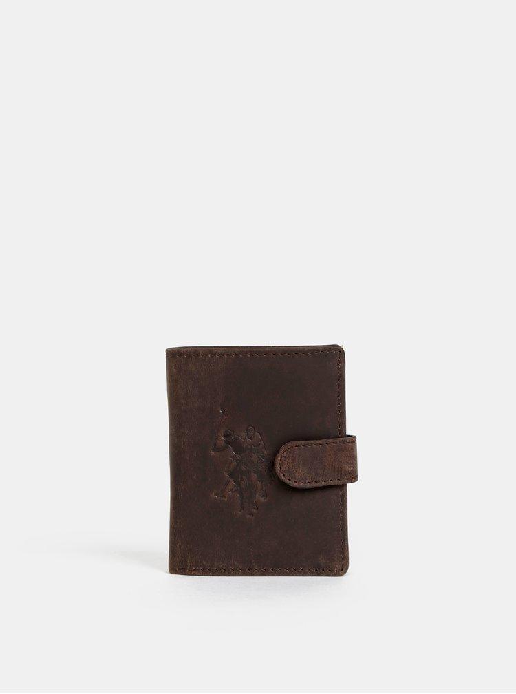 Tmavě hnědá pánská kožená peněženka U.S. Polo Assn. Tulsa