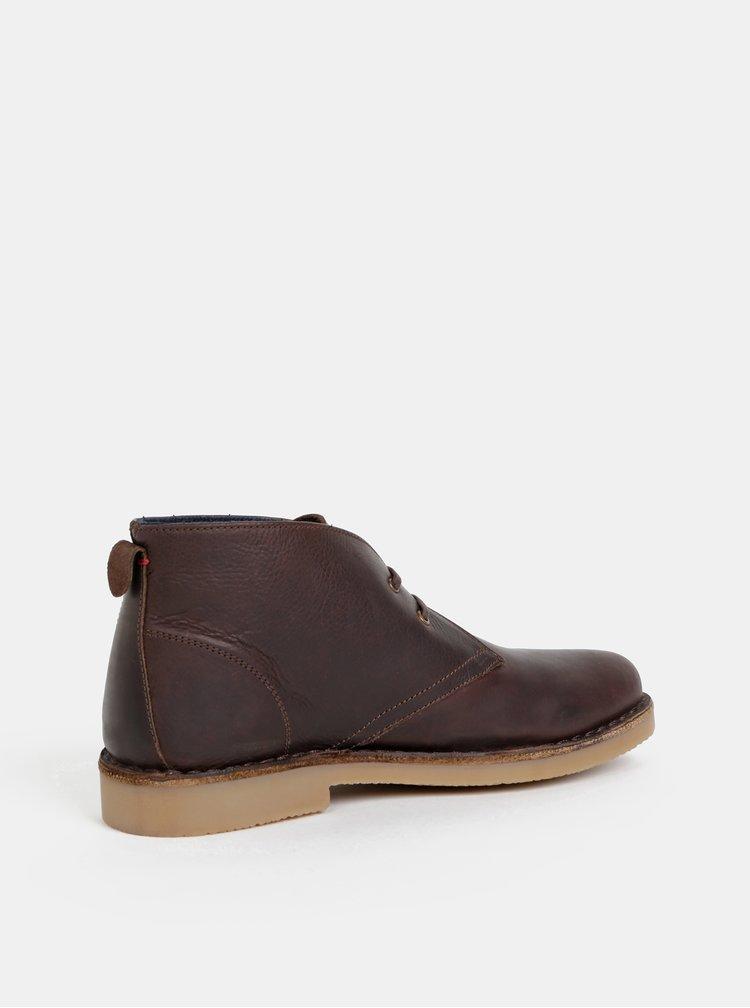 Tmavě hnědé pánské kožené kotníkové boty U.S. Polo Assn. Amadeus
