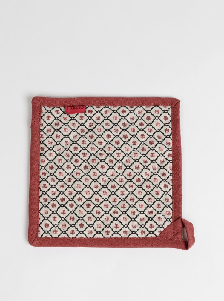 Červeno-béžová vzorovaná podložka pod hrnec Tranquillo Feliz