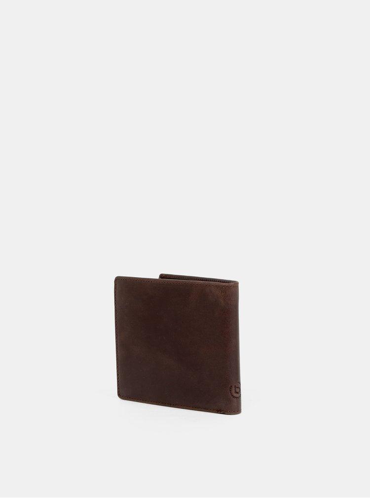 Tmavě hnědá kožená peněženka bugatti