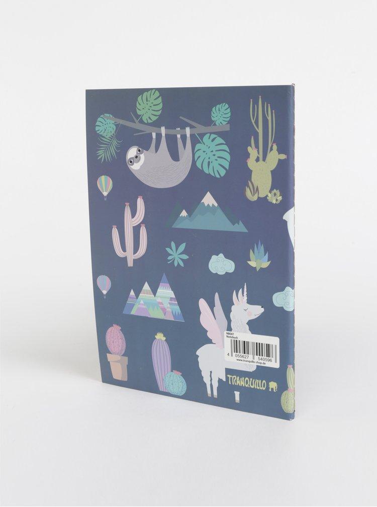 Tmavě modrý vzorovaný zápisník Tranquillo No Drama Lama