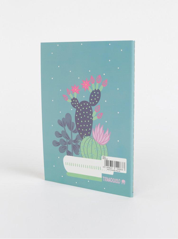 Modrý vzorovaný zápisník Tranquillo Kaktus