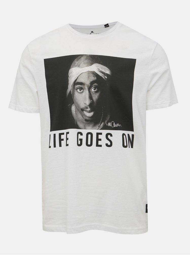 Biele tričko s potlačou Only & Sons