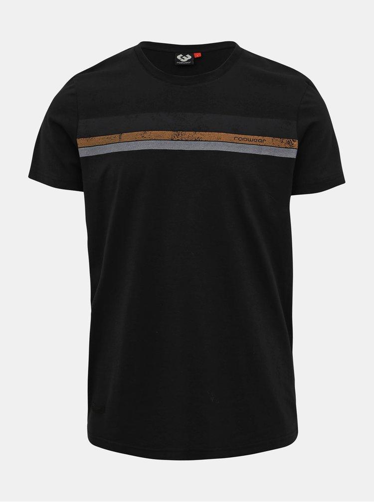 Černé pánské tričko s potiskem Ragwear Hake