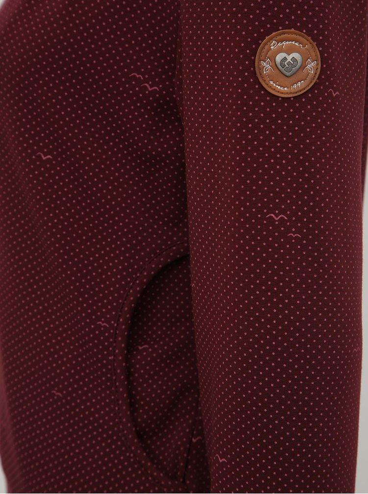 Vínová dámska bodkovaná mikina Ragwear Kenia
