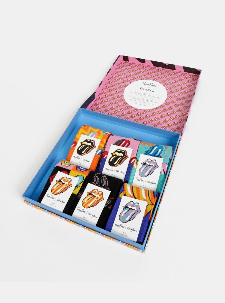 Sada šiestich párov vzorovaných ponožiek v čiernej, modrej, rúžovej a oranžovej farbe v darčekovej krabičke Happy Socks Rolling Stones