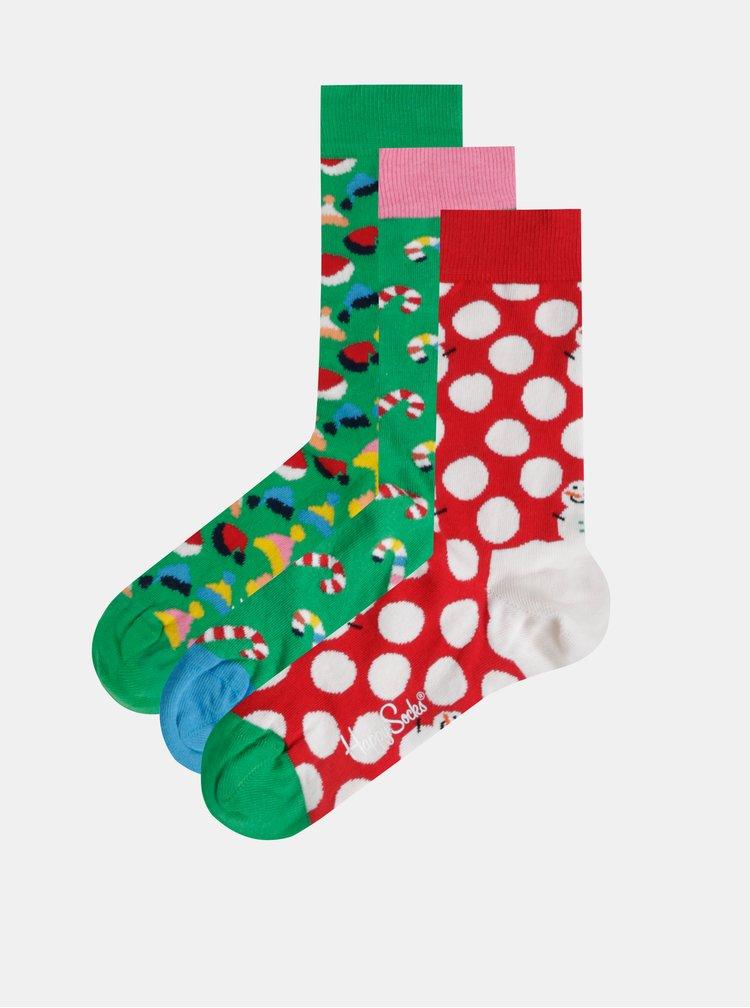 Sada tří párů vzorovaných ponožek v červené a zelené barvě v dárkové krabičce Happy Socks Holiday