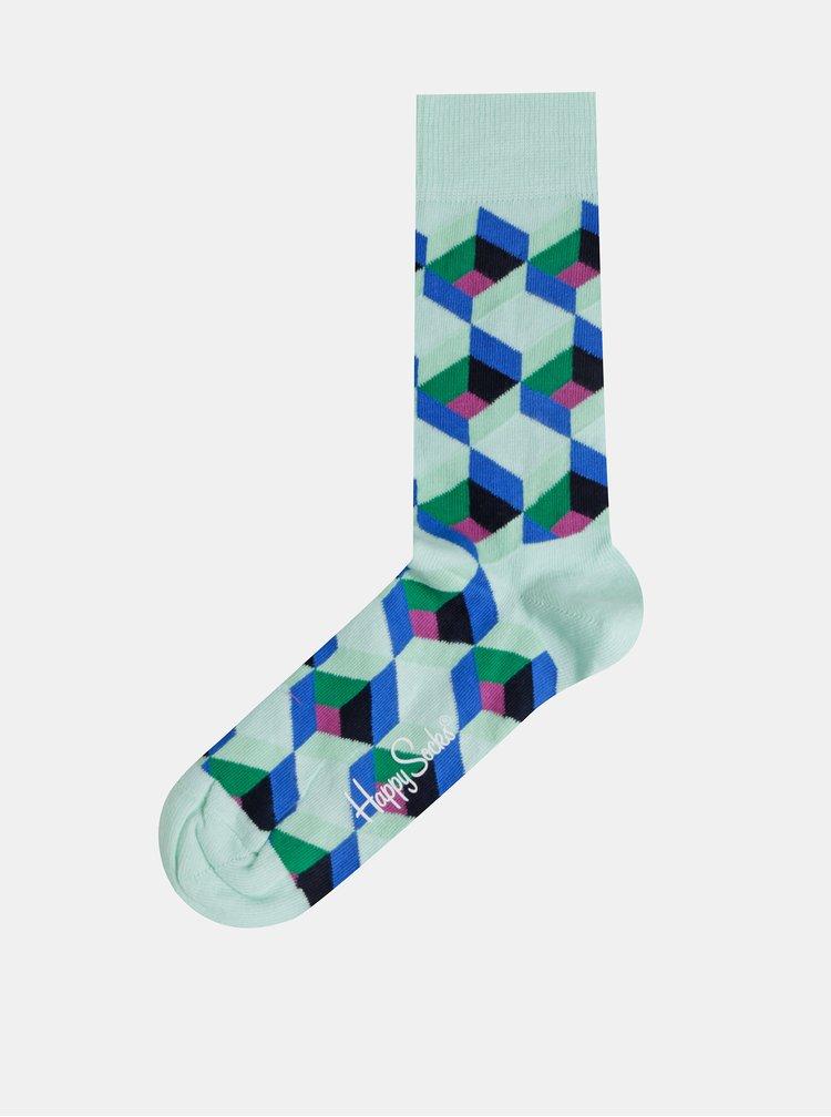 Mentolové vzorované ponožky Happy Socks Optic Sguare