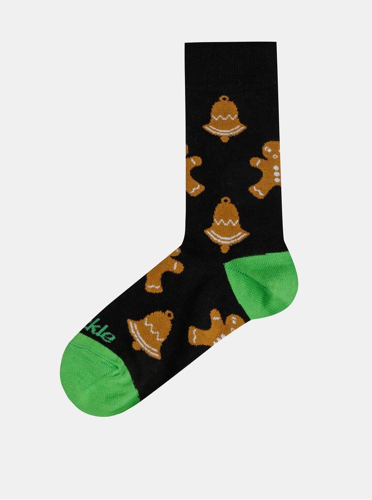 Černé vzorované ponožky Fusakle Vianocne pecenie
