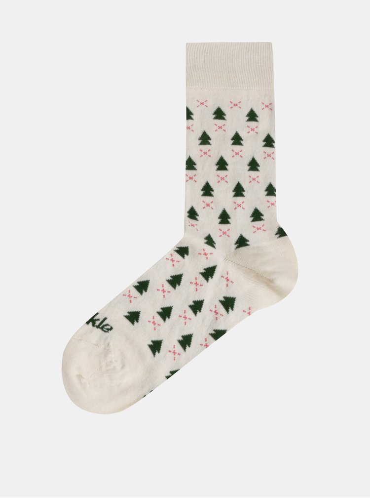 Zeleno-krémové vzorované ponožky Fusakle Zima v lese