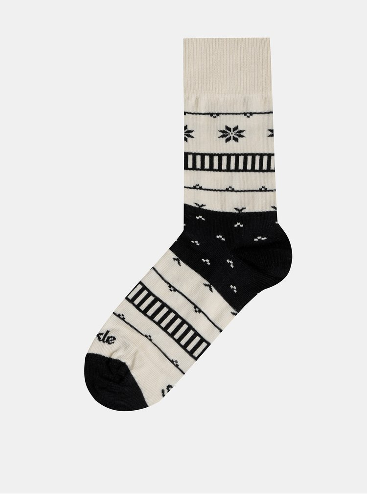 Krémové vzorované ponožky Fusakle Na chalupe