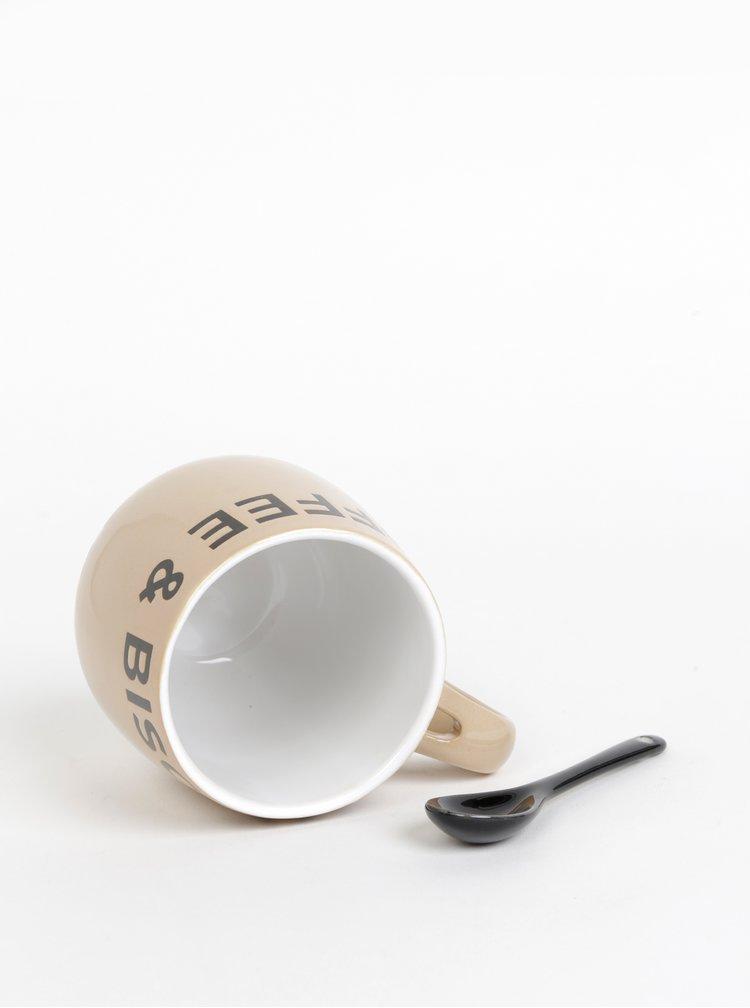 Béžový hrnček s lyžičkou CGB 400 ml