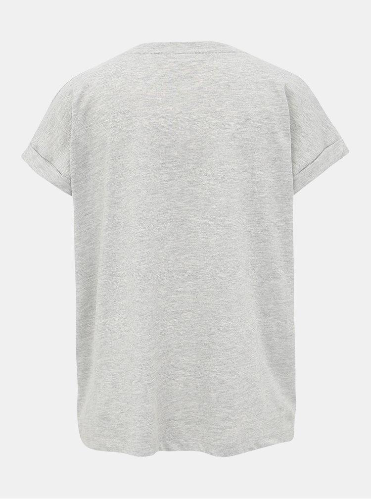 Světle šedé tričko s potiskem VILA Saselin