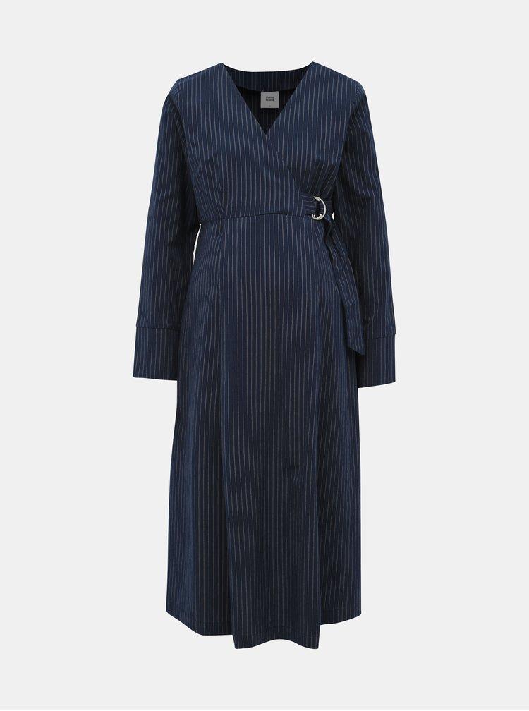 Tmavomodré pruhované tehotenské šaty Mama.licious Alessia
