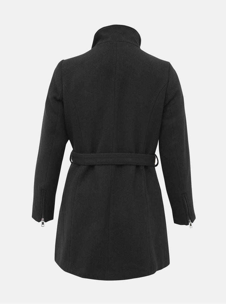 Čierny kabát s prímesou vlny ONLY CARMAKOMA Christie Rianna