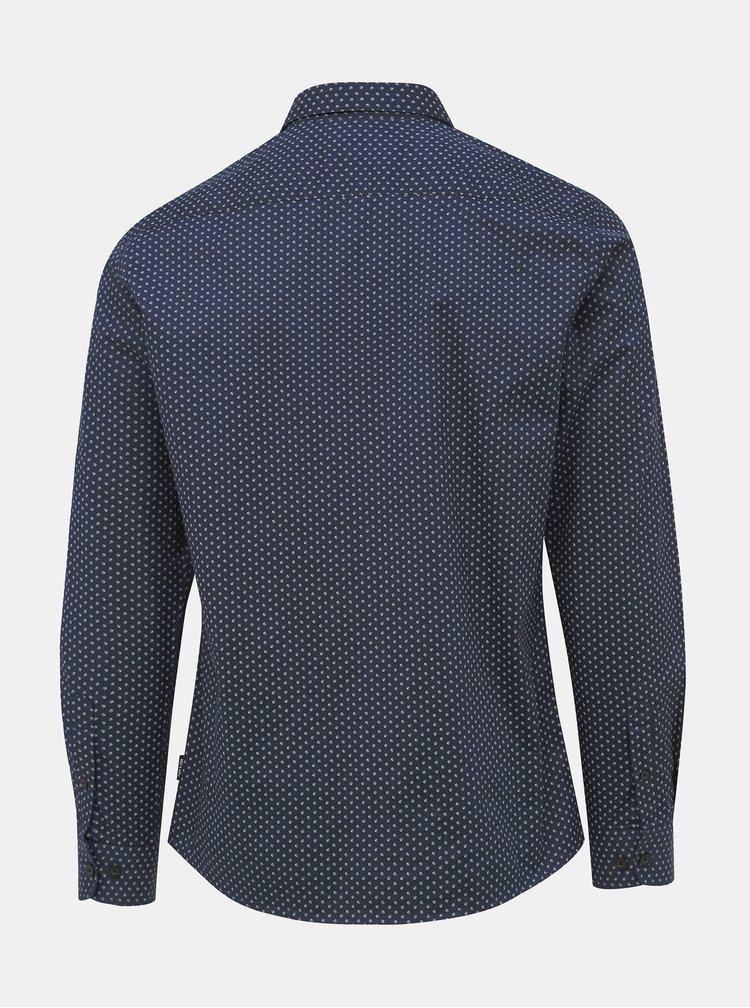 Tmavomodrá bodkovaná slim fit košeľa ONLY & SONS Alves