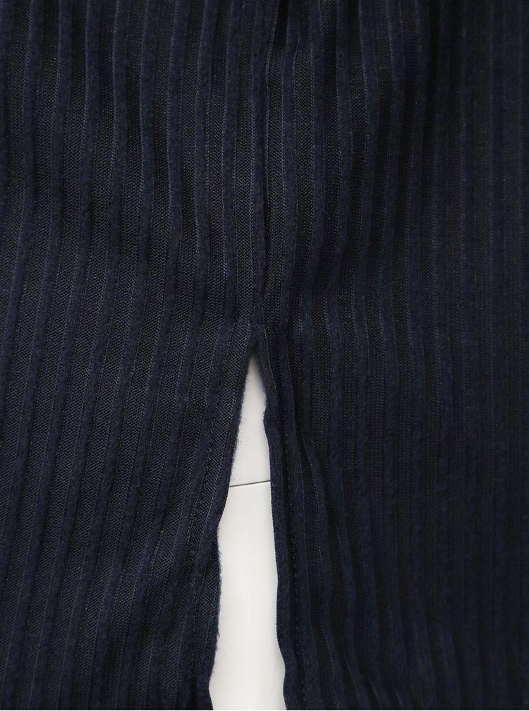 Tmavě modrý žebrovaný lehký svetr ONLY CARMAKOMA Gaia