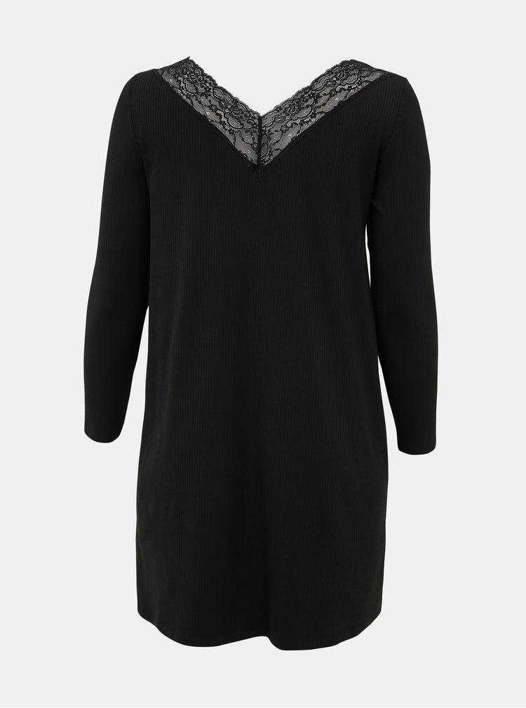 Čierne šaty s krajkou ONLY CARMAKOMA Alberthe