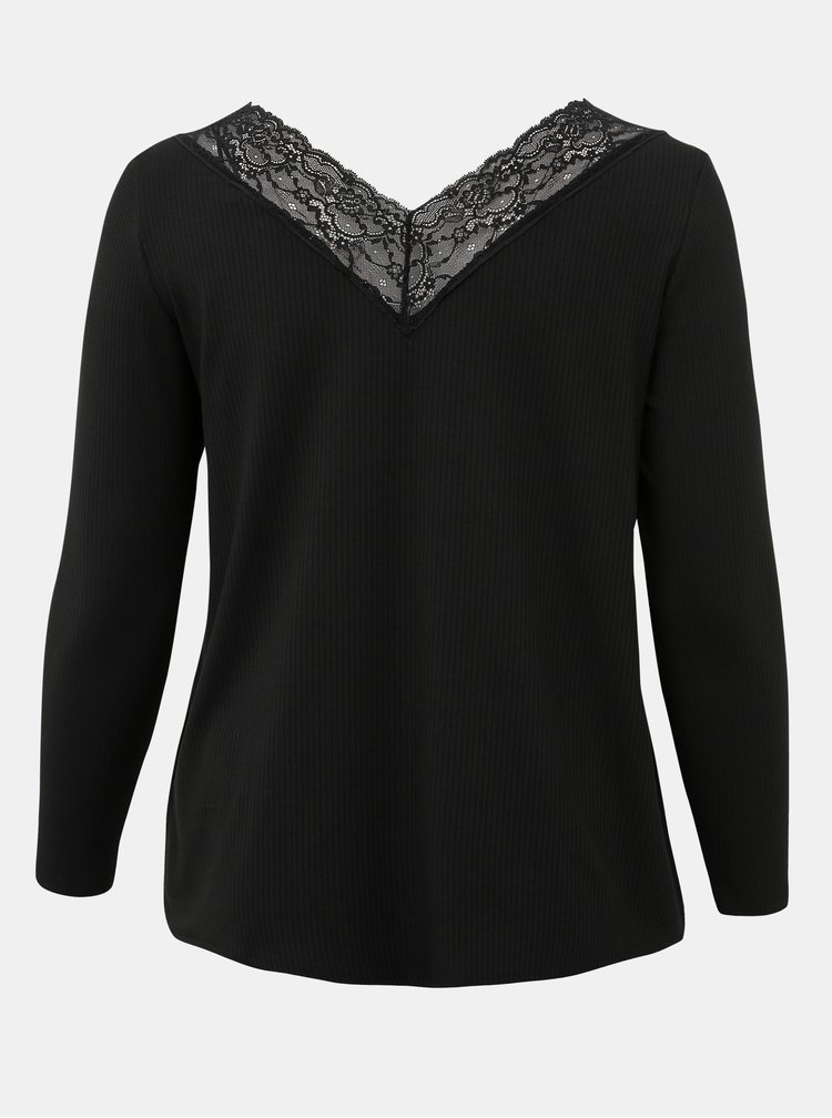 Čierne tričko s krajkou ONLY CARMAKOMA Alberthe