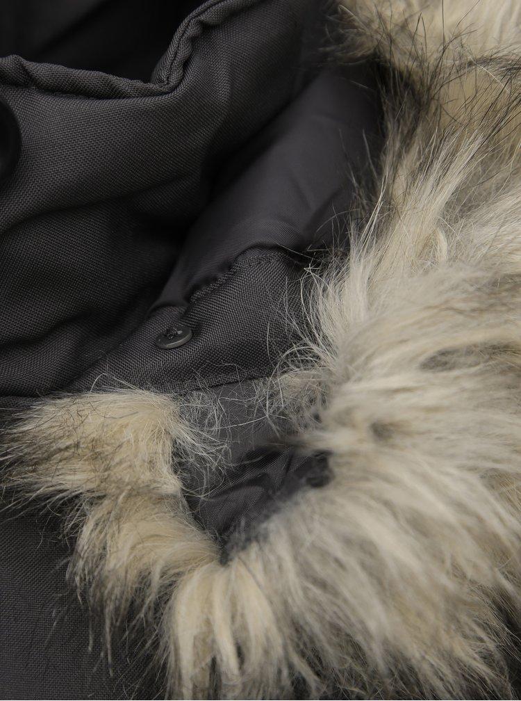 Tmavě šedá zimní parka ONLY Iris