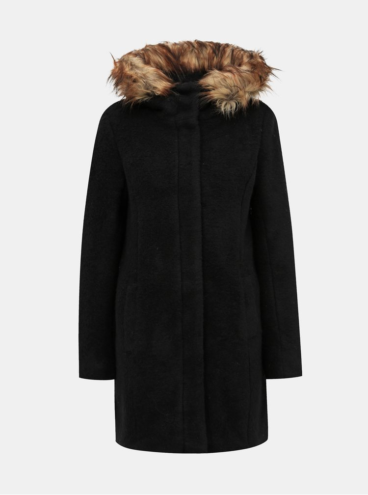 Černý kabát s příměsí vlny ONLY Gianna