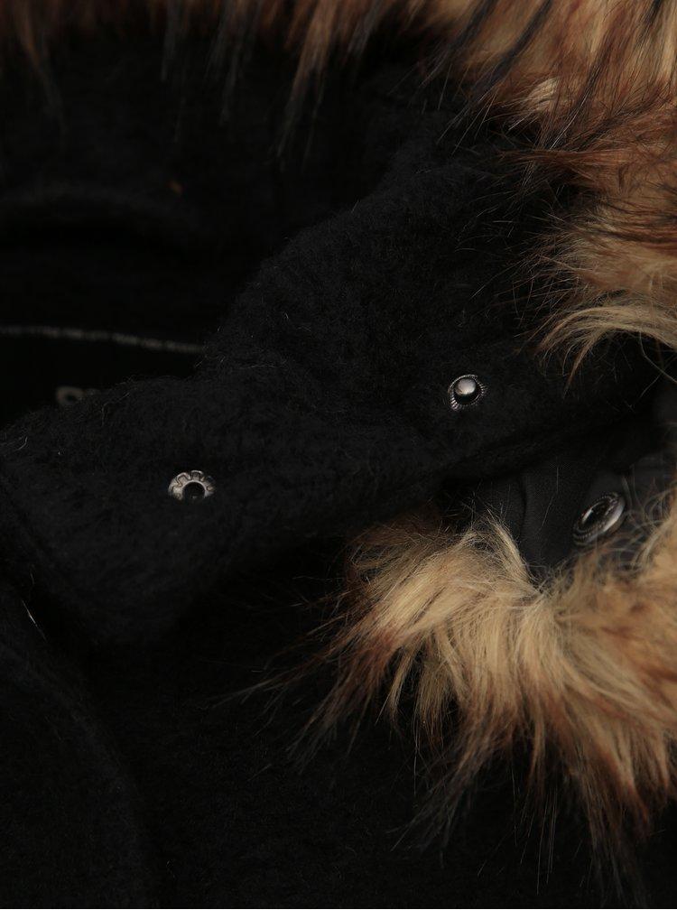 Čierny kabát s prímesou vlny ONLY Gianna