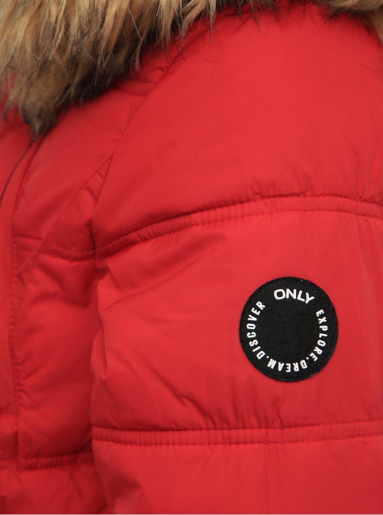 Červená prošívaná zimní bunda ONLY New Ottowa