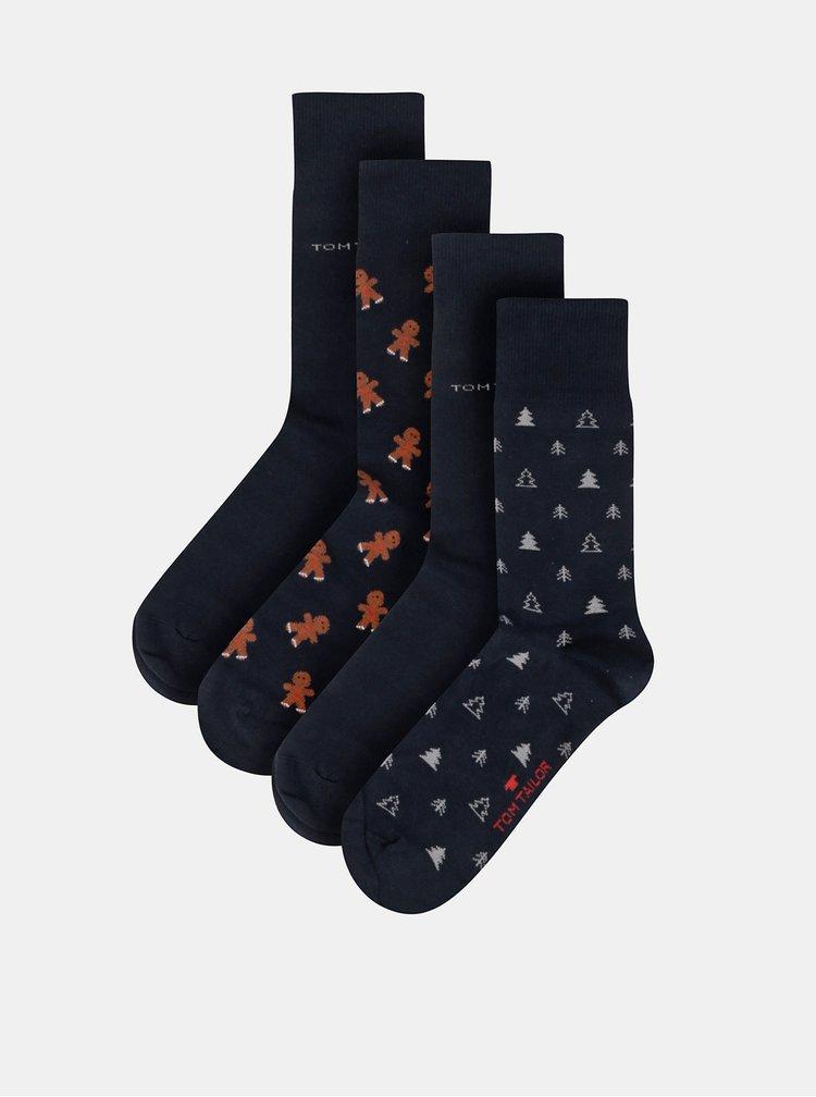 Sada štyroch párov pánskych tmavomodrých vzorovaných ponožiek Tom Tailor