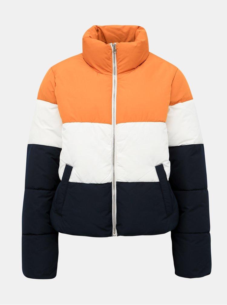 Modro-hořčicová prošívaná zimní bunda Jacqueline de Yong Erica