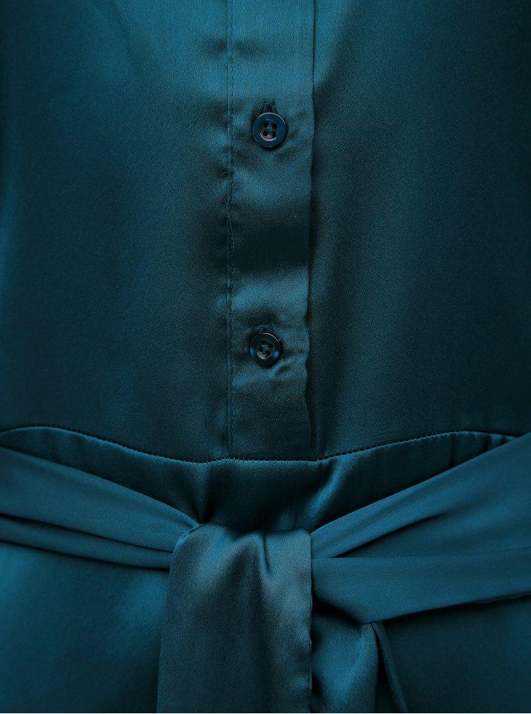 Tmavozelené sametové košeľové midišaty Jacqueline de Yong Fifi