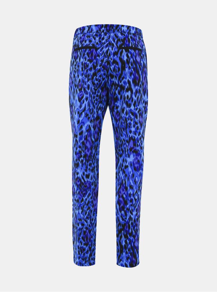 Modré dámské kalhoty s leopardím vzorem s.Oliver