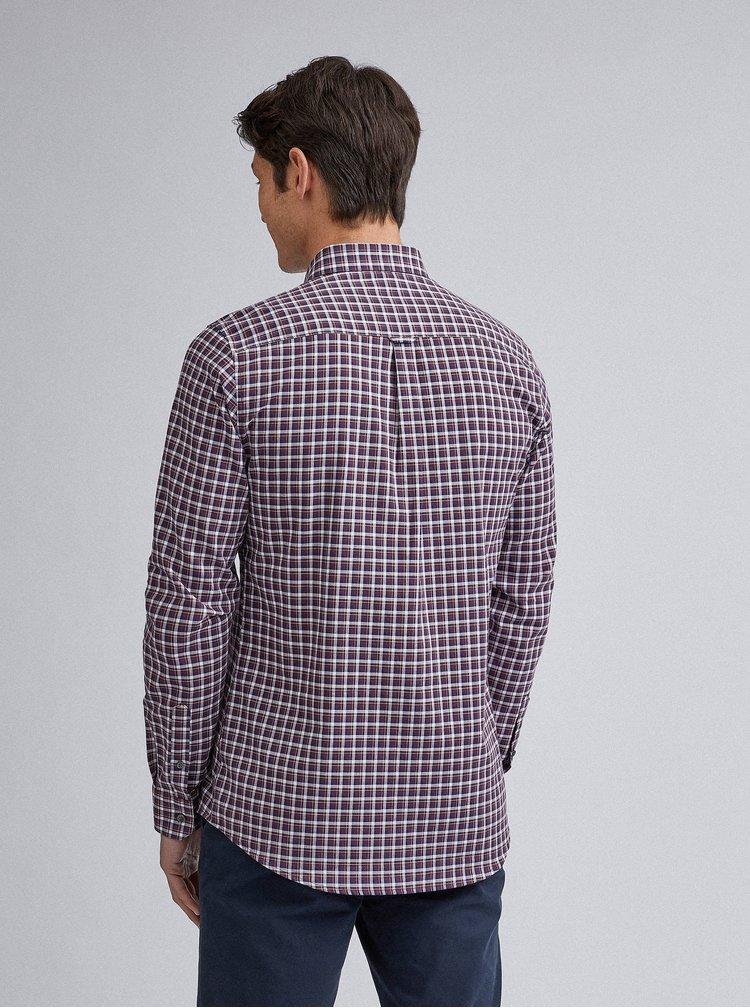 Vínová kockovaná slim fit košeľa Burton Menswear London
