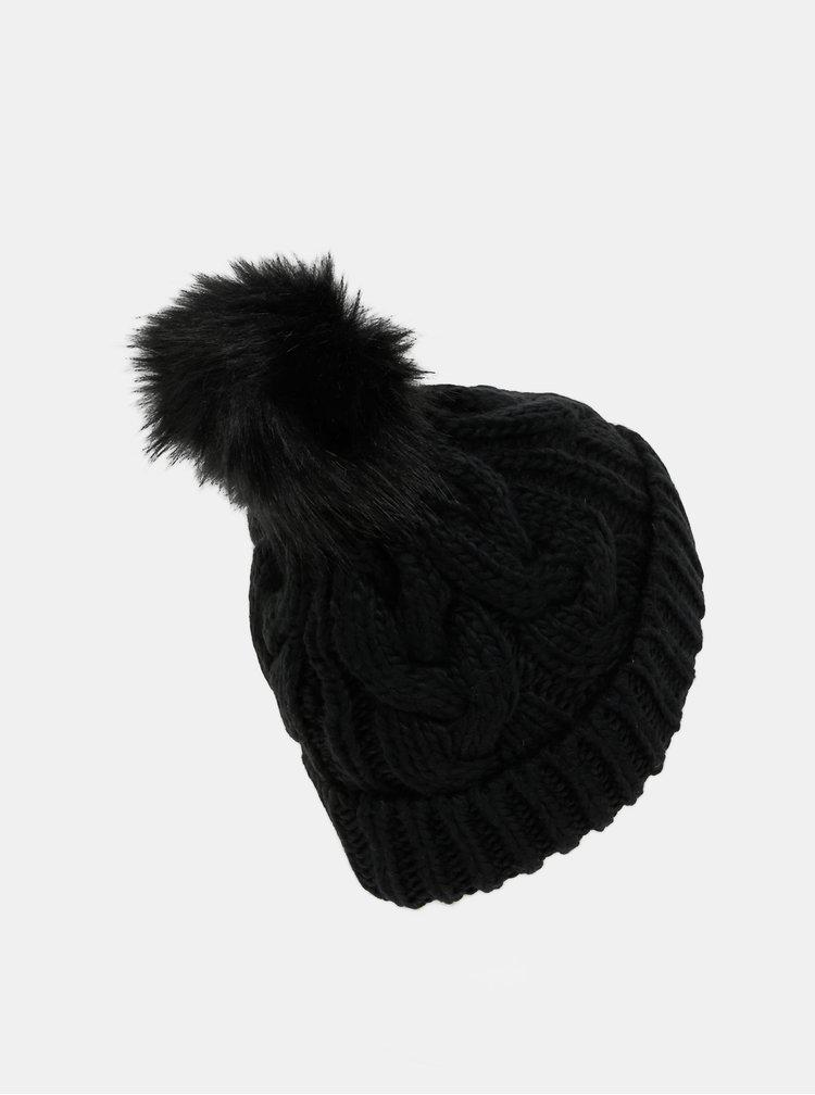 Černá dámská čepice s bambulí Guess