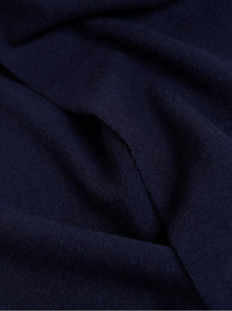 Tmavě modrá pánská vlněná šála GANT