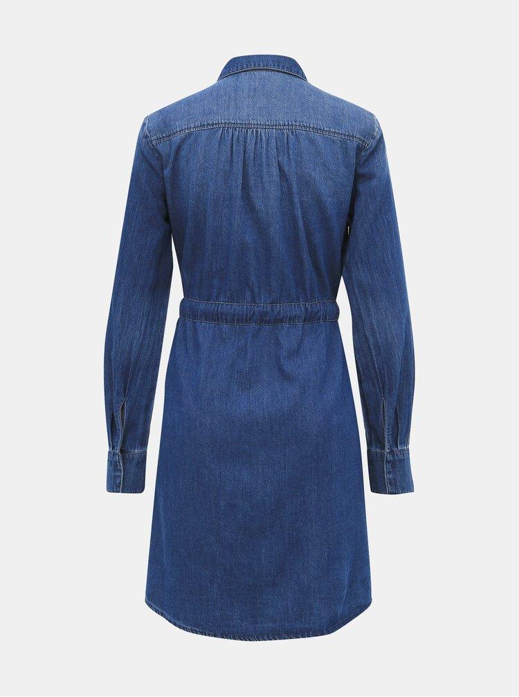 Modré rifľové košeľové šaty VERO MODA Rachel