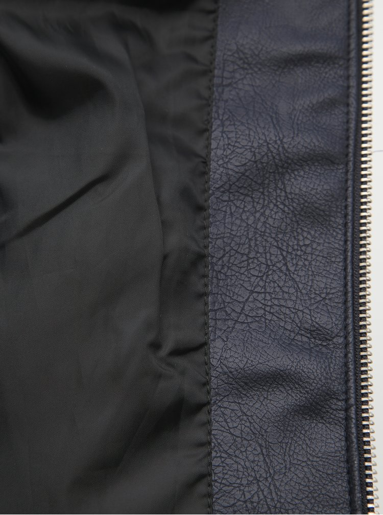 Tmavomodrá koženková bunda VERO MODA Sheena