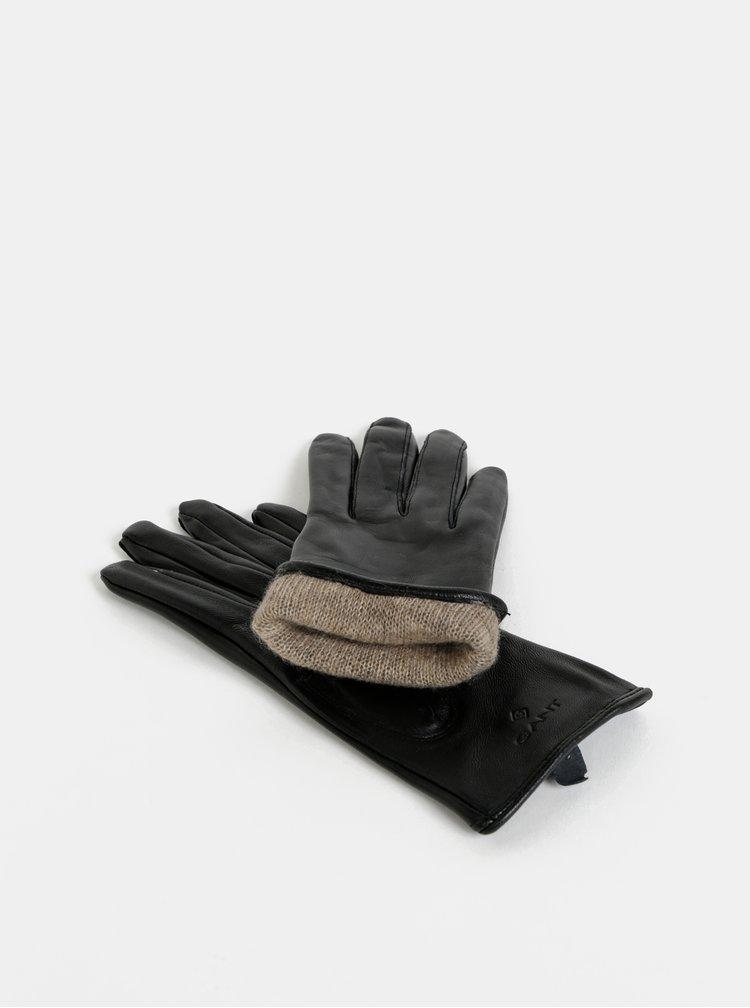Čierne dámske kožené rukavice GANT