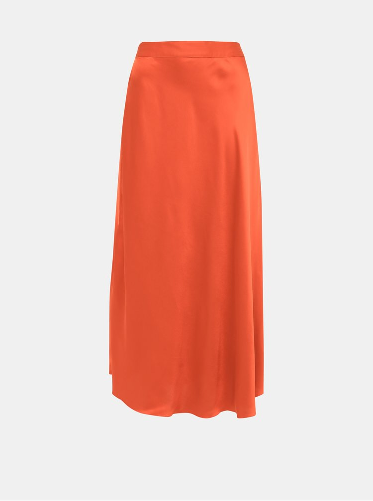 Oranžová saténová maxi sukně VERO MODA Christas