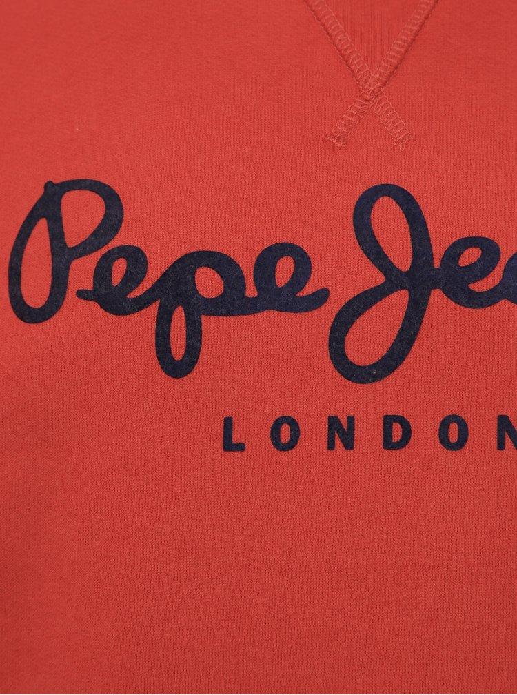 Červená pánská mikina s potiskem Pepe Jeans Albert