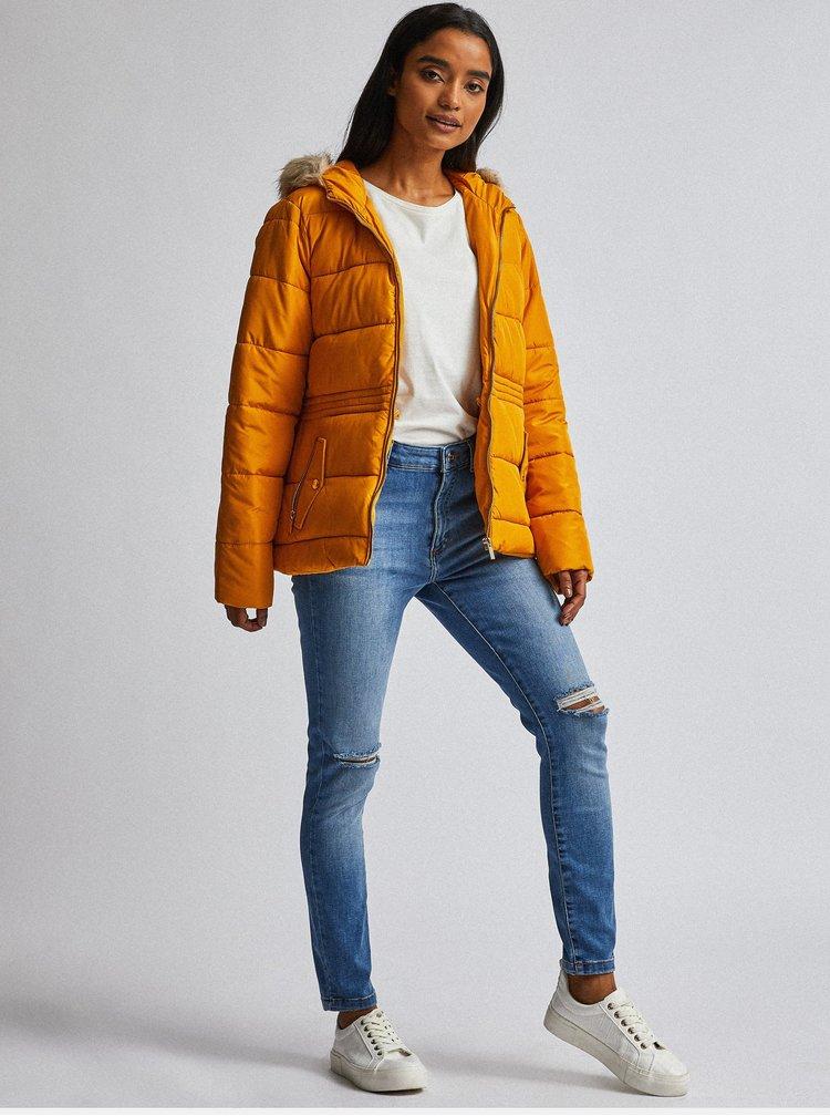 Hořčicová prošívaná zimní bunda Dorothy Perkins Petite
