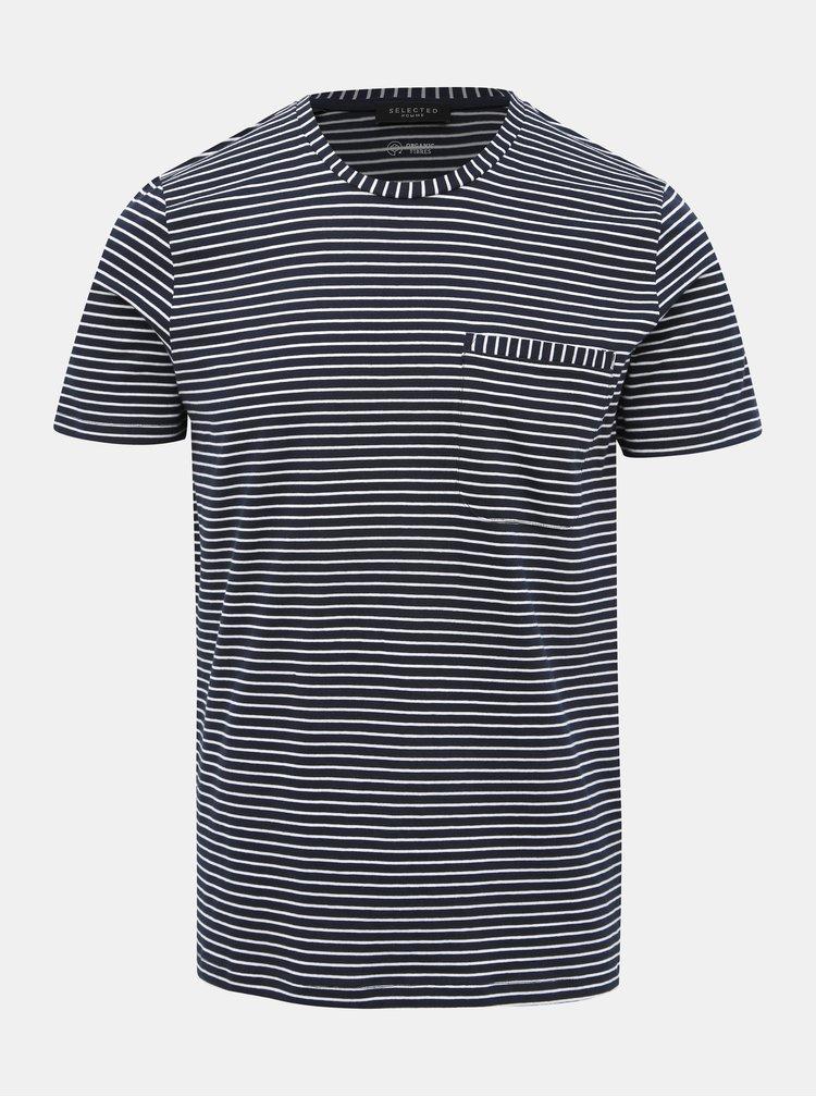Tmavě modré pruhované tričko Selected Homme Alvin