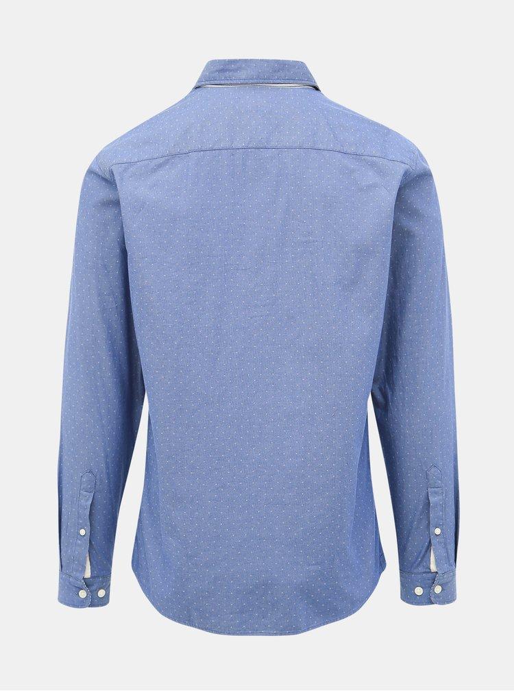 Modrá vzorovaná slim fit košeľa Selected Homme Harper