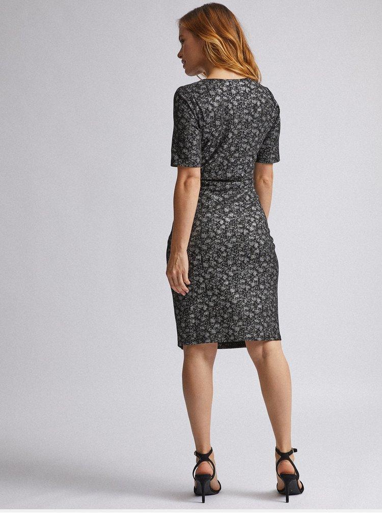 Šaty v strieborno-čiernej farbe Dorothy Perkins Petite