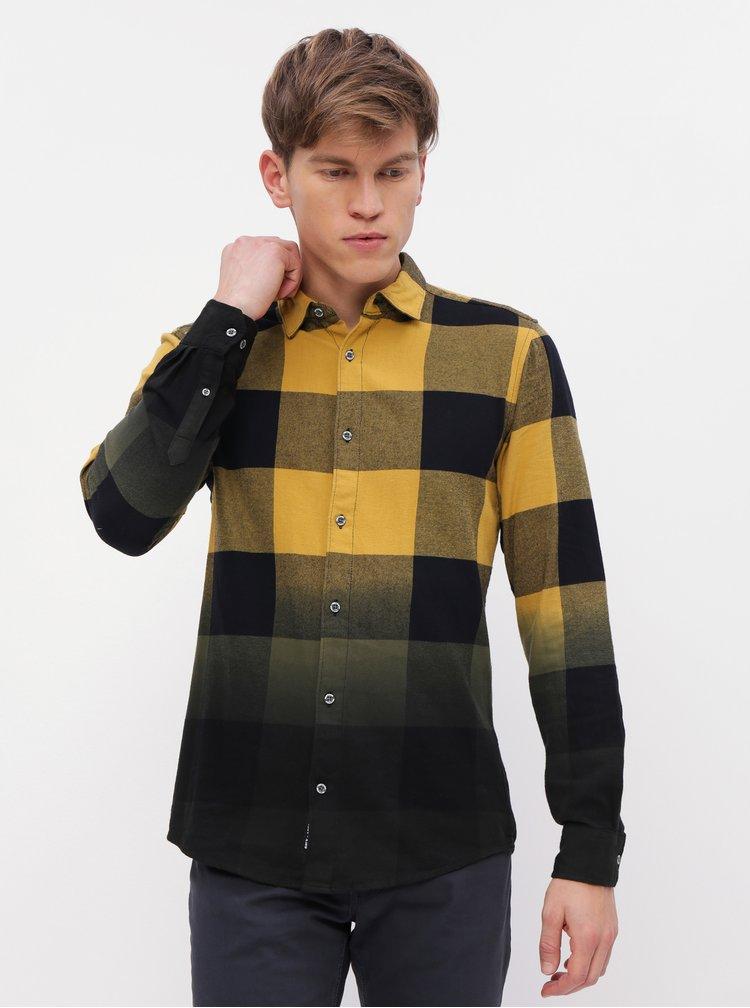 Čierno-žltá kockovaná slim fit košeľa ONLY & SONS Freddy