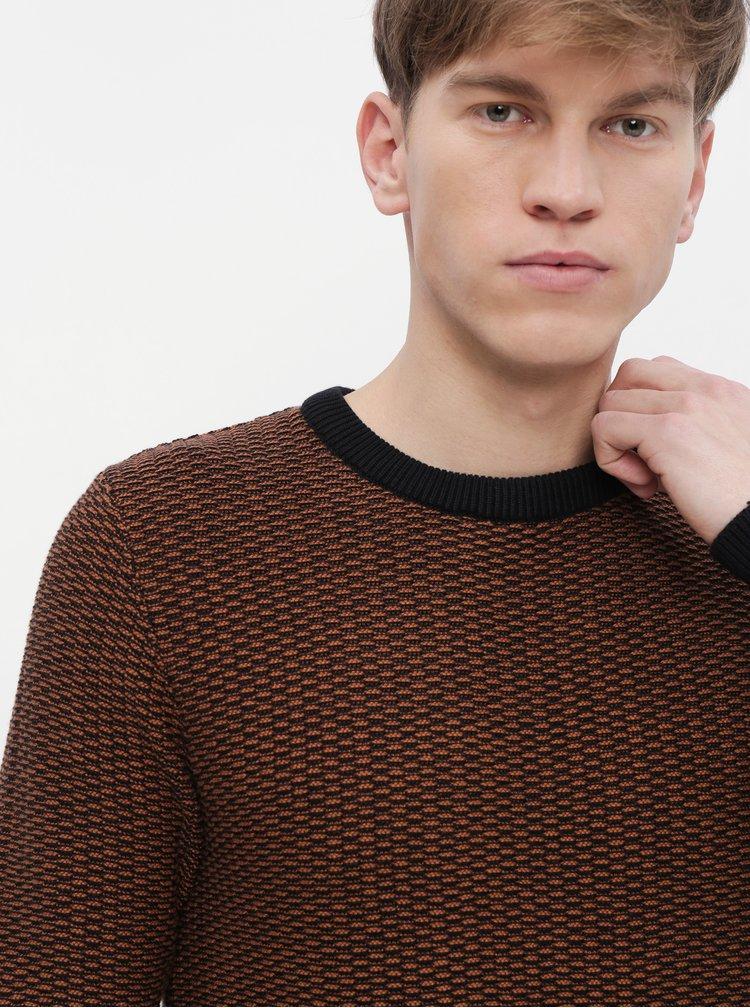 Hnědý vzorovaný svetr Selected Homme Haiden