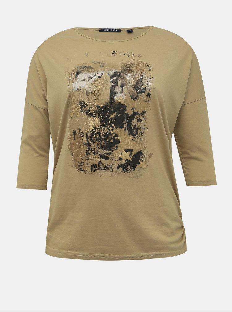Béžové dámske tričko s potlačou Blue Seven