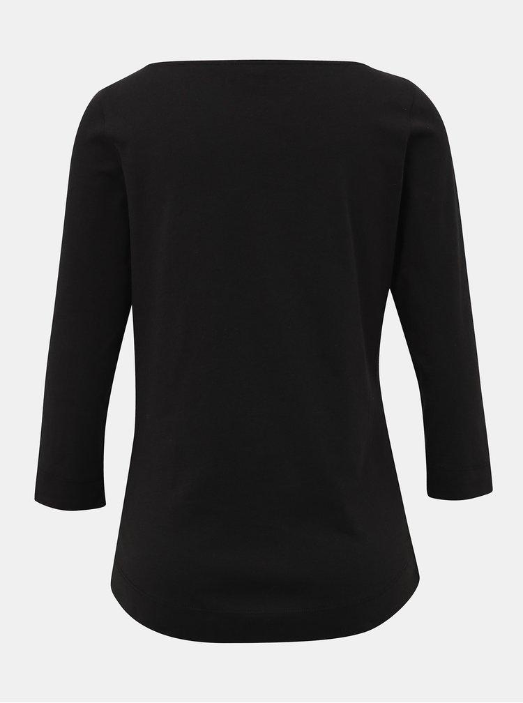 Čierne dámske basic tričko s 3/4 rukávom Tommy Hilfiger