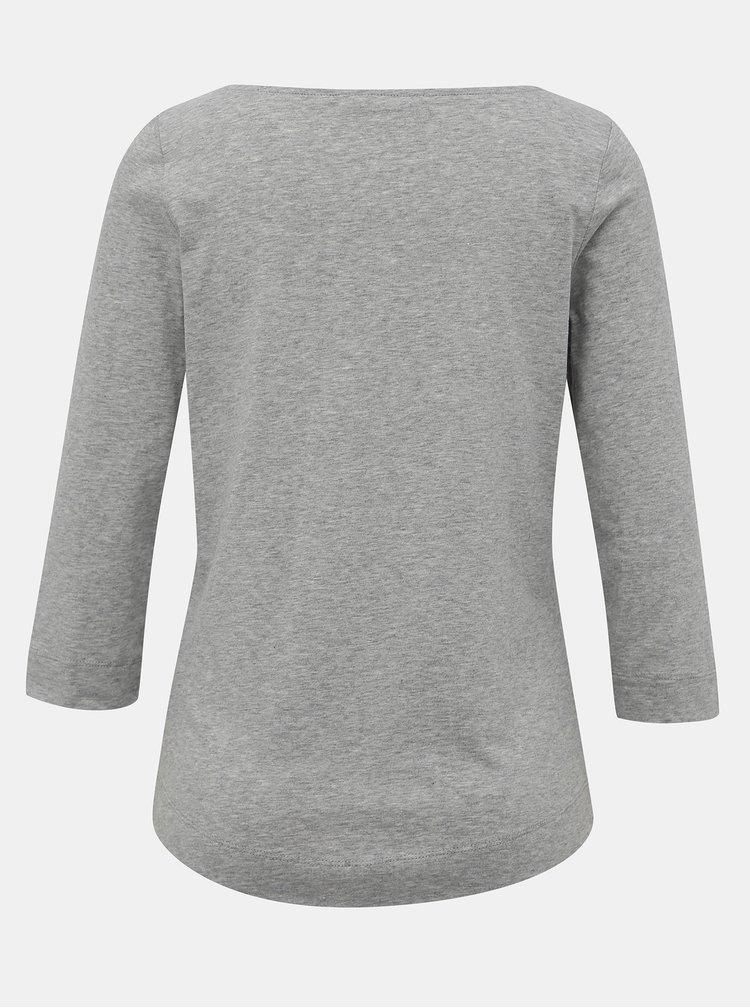 Šedé dámske basic tričko s 3/4 rukávom Tommy Hilfiger
