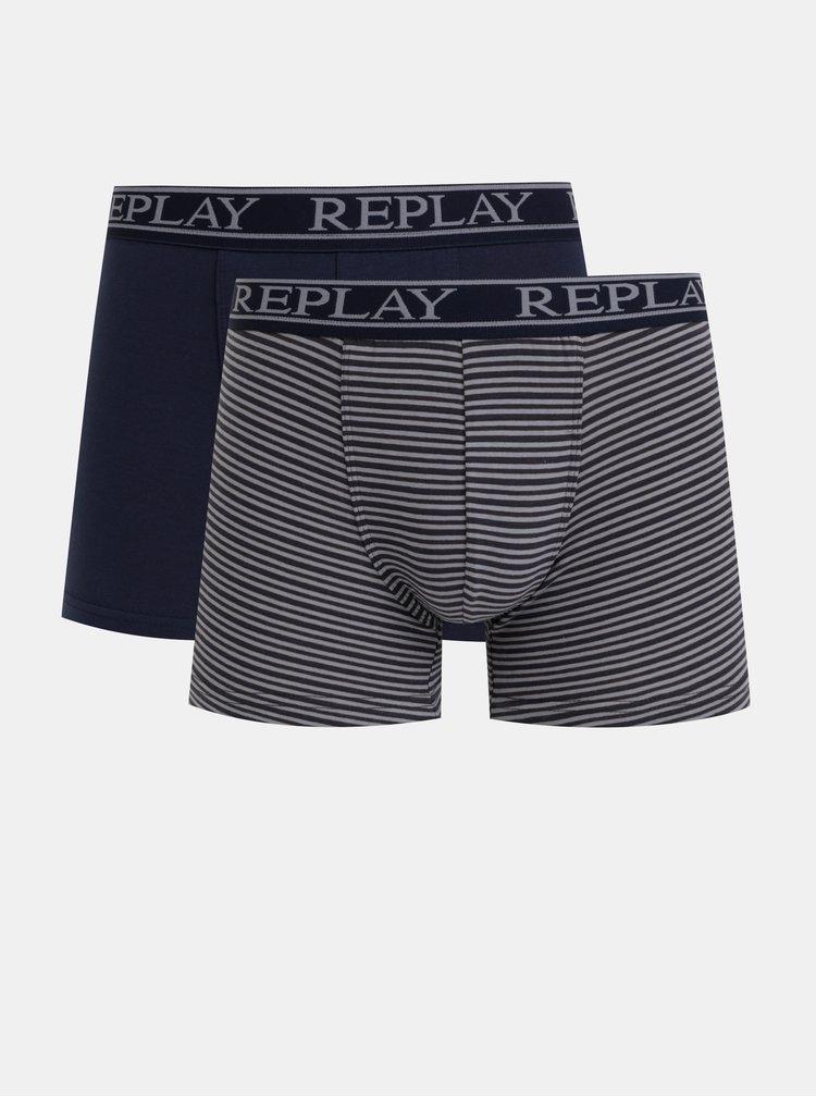 Sada dvou boxerek v tmavě modré a šedé barvě Replay