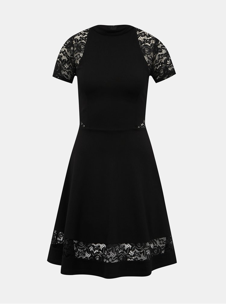 Čierne šaty s krajkou TALLY WEiJL Peoli